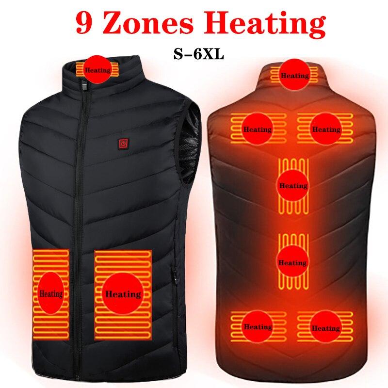 9 Areas Heated Vest Jacket  Men Outdoor Winter Electrical USB Heating Jacket Sleevless Fishing Hunting Waistcoat Hiking Vest